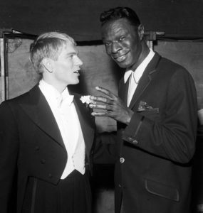 Adam Faith with Nat King Cole rehearsing for the Royal Variety Performance 16th May 1960