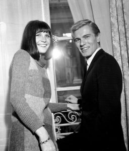 Pop singers Sandie Shaw and Adam Faith at a reception held at the Pompadour Suite at the Cafe Royal October 1964